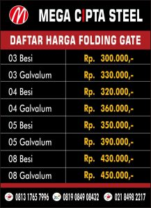 FOLDING GATE PVC KALIABANG ROLLING DOOR MARGA MULYA